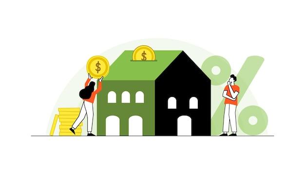 Hypothekenvektorillustration wohnung kleines haus kaufen schuldnerkonzept