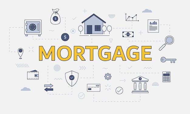 Hypothekenwohnimmobilienkonzept mit ikonensatz mit großem wort oder text auf der vektorillustration in der mitte