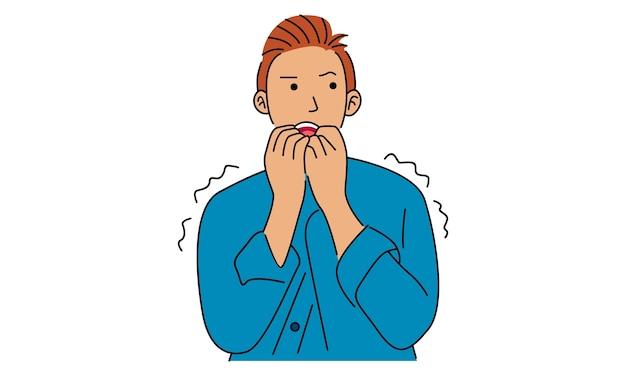 Hysterischer kerl, der verzweifelt und panisch aussieht, nervös, besorgt