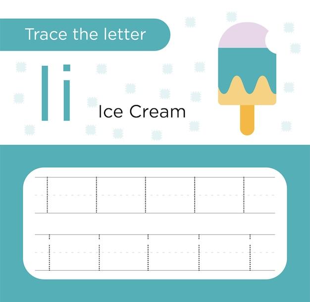 I alphabetische nachverfolgung von groß- und kleinbuchstaben mit eiscreme - arbeitsblätter zur nachverfolgung von buchstaben