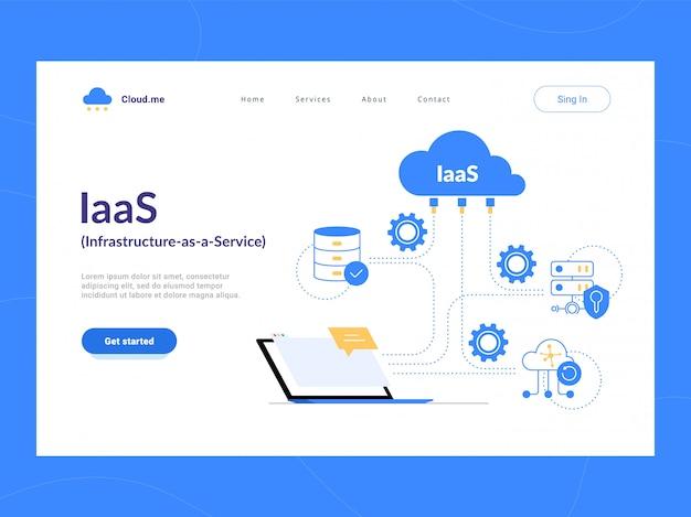 Iaas: infrastruktur als service erster bildschirm. flexibles cloud-computing-modell. ressourcen für virtuelle rechenzentren nach bedarf. optimierung von geschäftsprozessen für startups, kleine unternehmen und unternehmen.