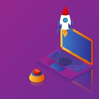Ibusiness startup raketenstart vom laptop