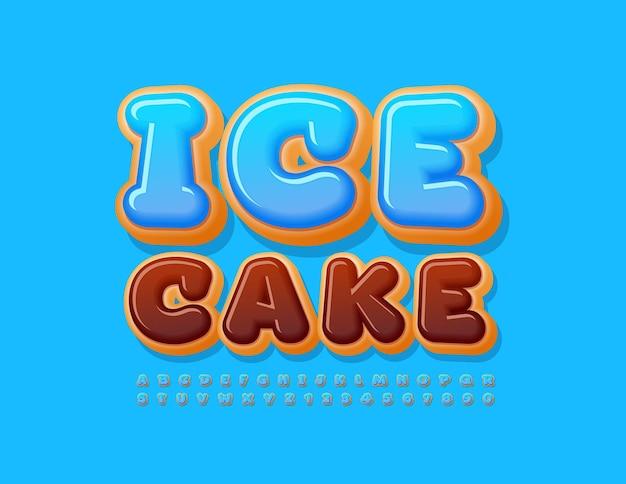 Ice cake blue frosted font süßes set aus buchstaben und zahlen des alphabets