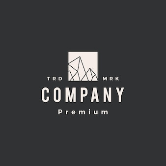Ice rock peak mount hipster vintage logo vorlage