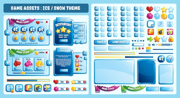 Ice theme game assets