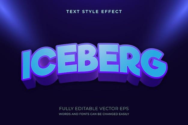 Iceberg cooler 3d-bearbeitbarer textstil-effekt