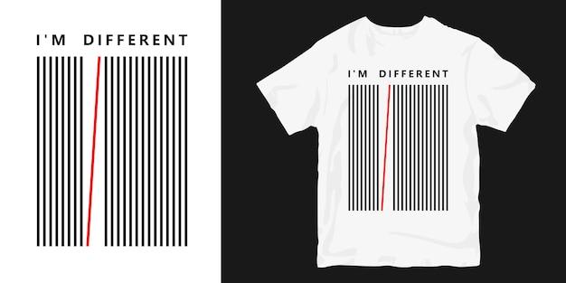 Ich bin anders t-shirt mit abstrakt abgestreift