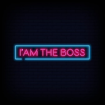 Ich bin der boss neon sign text vektor