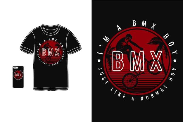 Ich bin ein bmx-junge im t-shirt-design-silhouette-stil