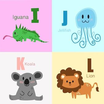 Ich bis l tiere alphabet illustrationssammlung.