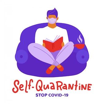 Ich bleibe zu hause sensibilisierungskampagne für soziale medien und prävention von coronaviren: mann entspannt sich und liest bücher. coronavirus-ausbruchskonzept. mit selbstquarantäne zu hause bleiben. lockdown zu hause.
