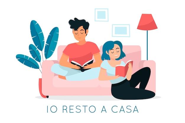 Ich bleibe zu hause unter quarantäne und lese mit meinen lieben