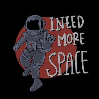 Ich brauche mehr raum astronauten illustration