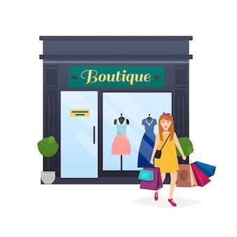 Ich gehe gern einkaufen. frau einkaufen und taschen halten. modeboutique fassade. flache artvektorillustration.