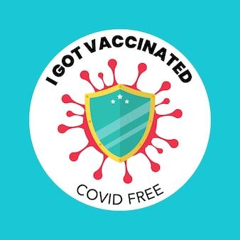 Ich habe ein kostenloses covid-banner geimpft. vektor-illustration