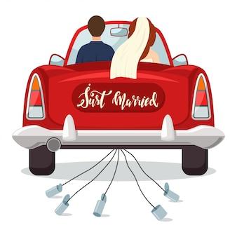 Ich habe gerade ein rotes auto mit braut und bräutigam geheiratet. hochzeitsillustration mit einem frisch verheirateten paar lokalisiert auf einem weißen hintergrund.