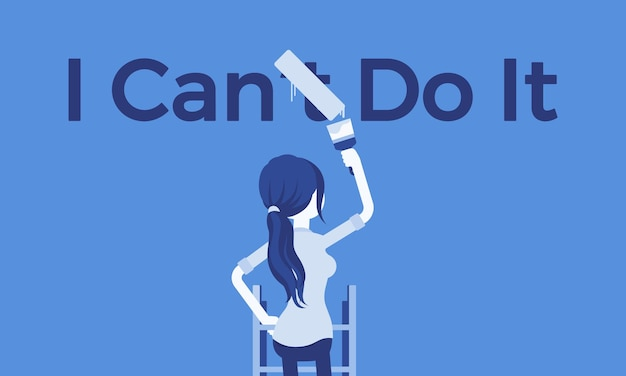 Ich kann es motivierendes poster machen. frau, die negative grammatikalische konstruktion in eine positive aussage korrigiert, um begeisterung und willen zum ausdruck zu bringen, etwas zu tun, verlangen und energie.
