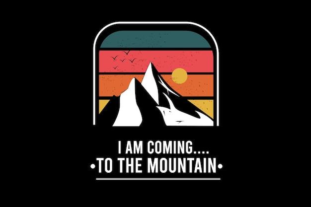 Ich komme zum berg farbe grün rot und orange