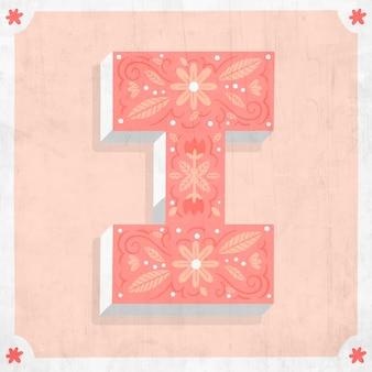 Ich kreative blumenbuchstaben des alphabets