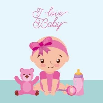 Ich liebe baby teddybär und milch