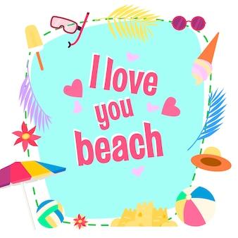 Ich liebe dich am strand. cartoon herzform