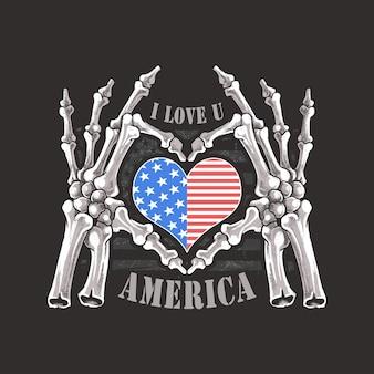 Ich liebe dich amerika usa für immer skelett-schädel-knochen-handgestaltung