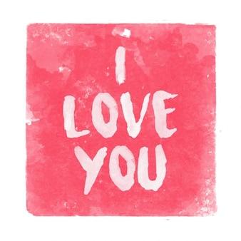 Ich liebe dich aquarell hintergrund text auf Kostenlosen Vektoren