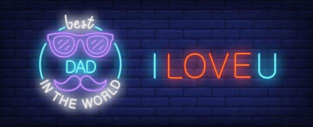 Ich liebe dich, bester vater in der welt illustration in neon-stil. bunter text, gläser
