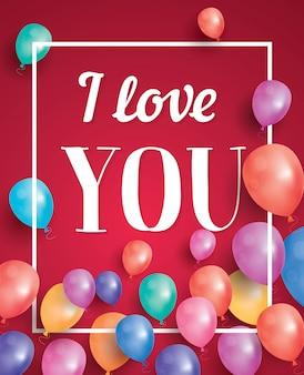 Ich liebe dich karte mit fliegenden luftballons und weißem rahmen.