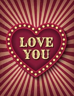 Ich liebe dich karte. zirkusstil des heiligen valentinstag. hintergrundplakat.