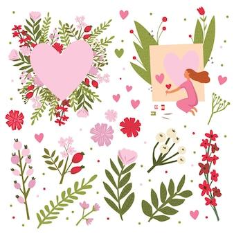 Ich liebe dich - konzept glückliche valentinstagkarte im vektor. niedliche save the date einladung im vektor. lustige katzen und stylisches herz aus mohnblumen