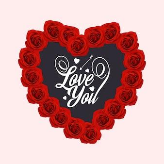 Ich liebe dich mit herz und rosen