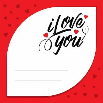 Ich liebe dich mit rotem musterhintergrund
