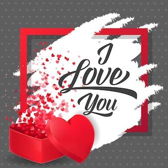 Ich liebe dich schriftzug mit konfetti