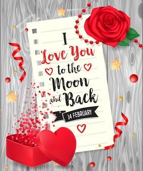 Ich liebe dich schriftzug mit rose