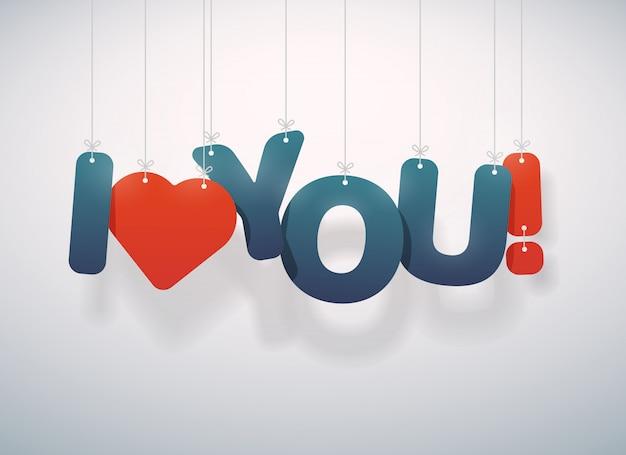 Ich liebe dich text mit herzen. illustration.