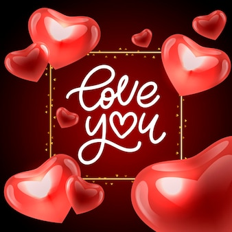 Ich liebe dich. valentinstagsgruß kalligraphie. hand gezeichnetes design