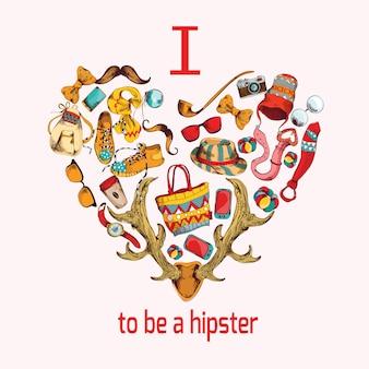 Ich liebe es, ein hipster zu sein. hipster skizze herz