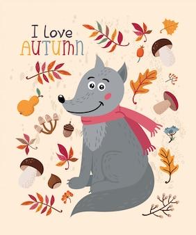 Ich liebe herbstkarte mit wolf und blättern