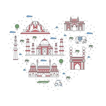 Ich liebe indien-plakat im linearen stil