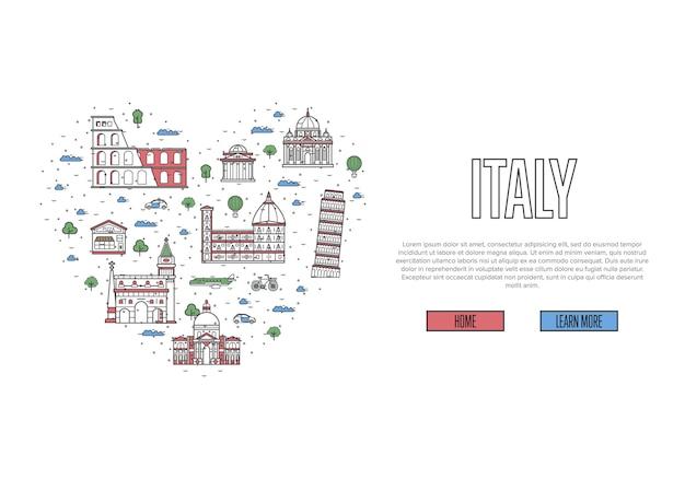 Ich liebe italien-vorlage im linearen stil