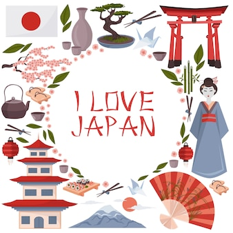 Ich liebe japan-illustration