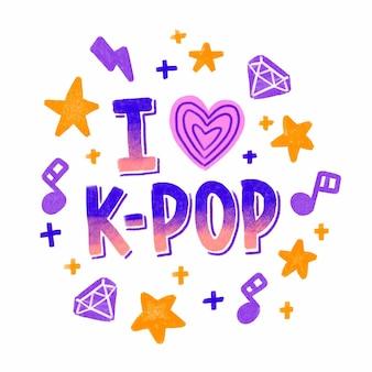 Ich liebe k-pop-schriftzüge
