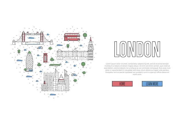 Ich liebe london vorlage im linearen stil