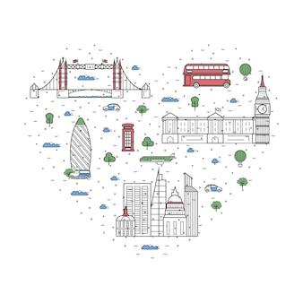 Ich liebe londoner elemente im linearen stil