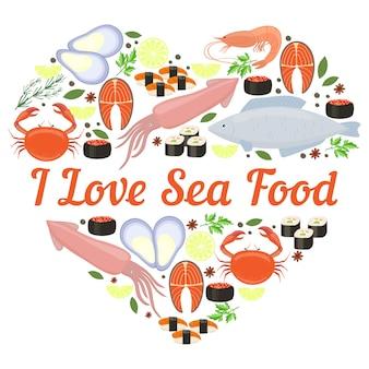 Ich liebe meeresfrüchte vektor herz design für ein poster oder eine karte mit calamari fisch hummer krabben sushi garnelen garnelen muschel lachs steak kräuter und gewürze und zentralen copyspace