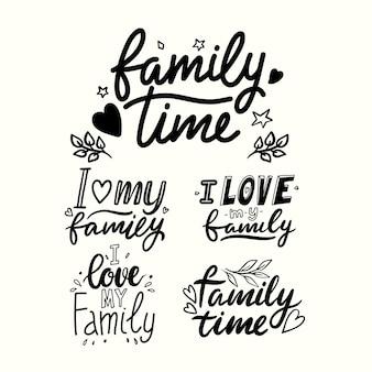 Ich liebe meine familie, die phrasen beschriftet, die auf weißem hintergrund lokalisiert werden. familienzeit handgezeichnete schwarze zitate, handgeschriebener t-shirt-druck. grußkarten-monochrom-design-elemente. vektor-illustration, set