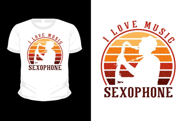 Ich liebe musik-saxophon-silhouette-t-shirt-design