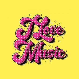 Ich liebe musik schriftzug