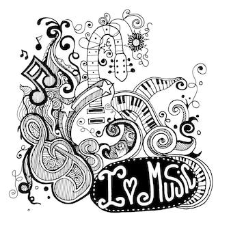 Ich liebe musik skizzenhaften notebook doodles